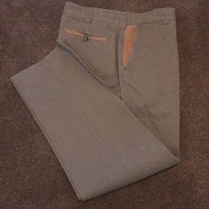 Men's Orvis khakis with tan suede accents